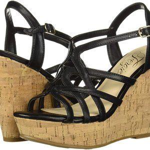 Fergie Villa Wedge Sandals Black  Size US 9-1/2